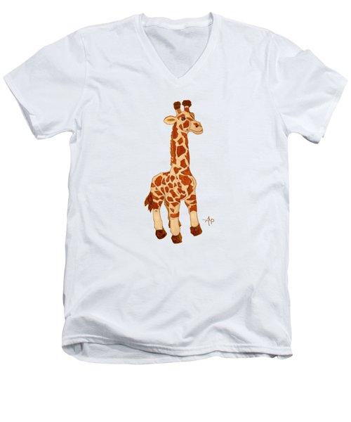 Cuddly Giraffe Men's V-Neck T-Shirt by Angeles M Pomata
