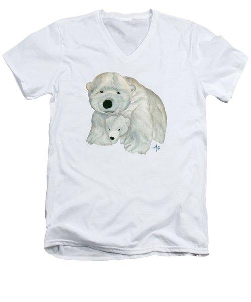 Cuddly Polar Bear Men's V-Neck T-Shirt by Angeles M Pomata