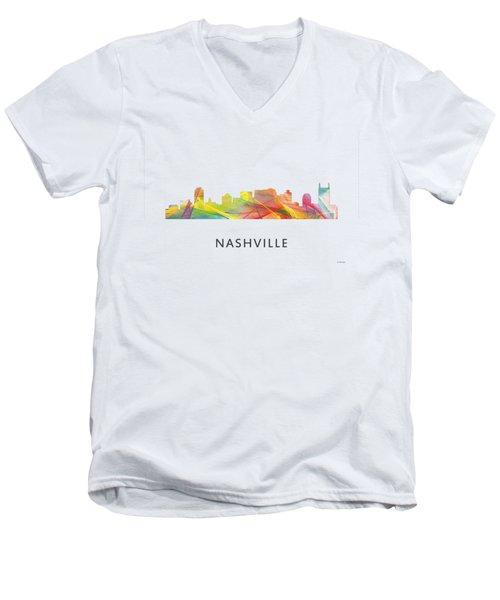 Nashville Tennessee Skyline Men's V-Neck T-Shirt by Marlene Watson