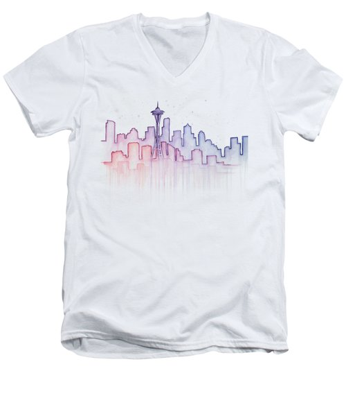 Seattle Skyline Watercolor Men's V-Neck T-Shirt by Olga Shvartsur