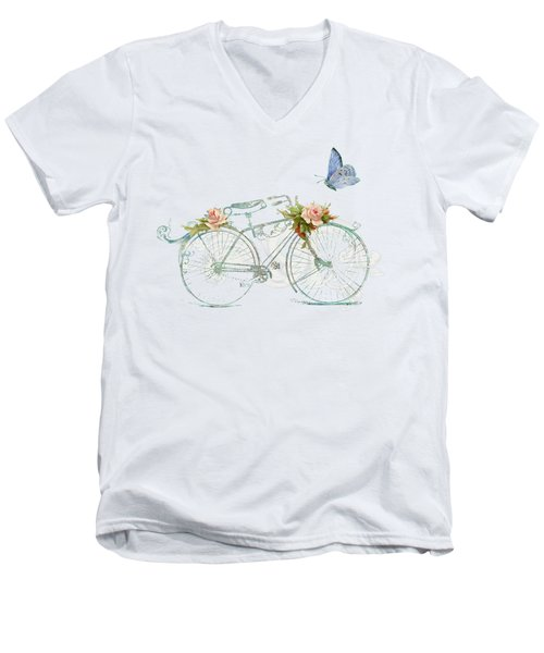 Summer At Cape May - Bicycle Men's V-Neck T-Shirt by Audrey Jeanne Roberts