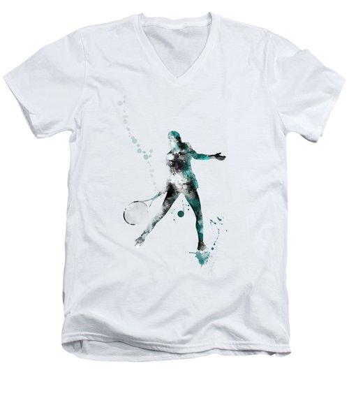 Tennis Player Men's V-Neck T-Shirt by Marlene Watson