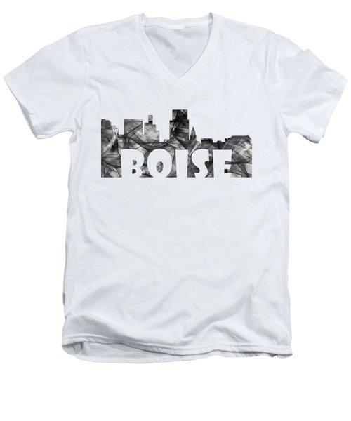 Boise Idaho Skyline Men's V-Neck T-Shirt by Marlene Watson