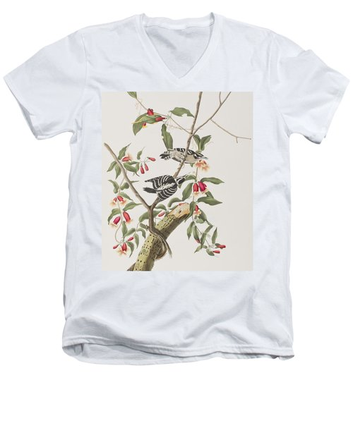 Downy Woodpecker Men's V-Neck T-Shirt by John James Audubon