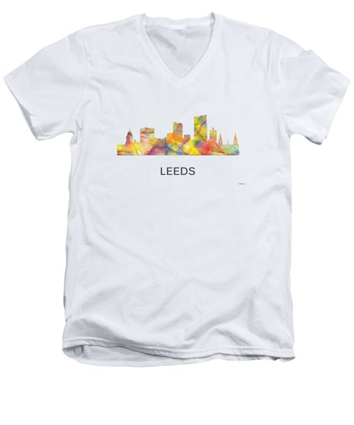 Leeds England Skyline Men's V-Neck T-Shirt by Marlene Watson