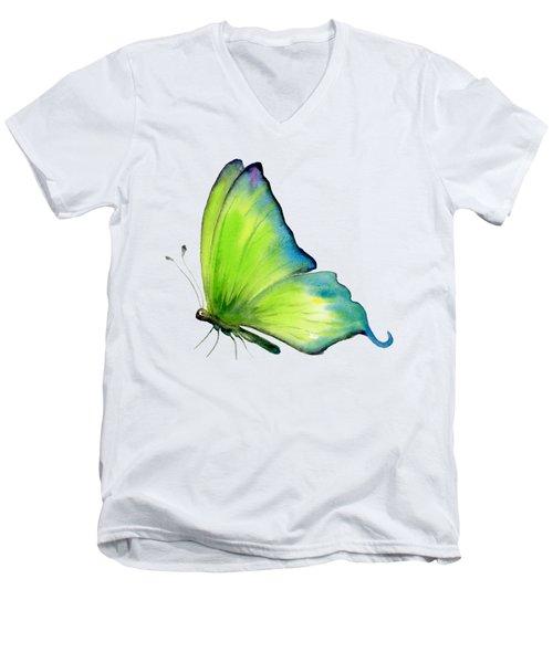 4 Skip Green Butterfly Men's V-Neck T-Shirt by Amy Kirkpatrick