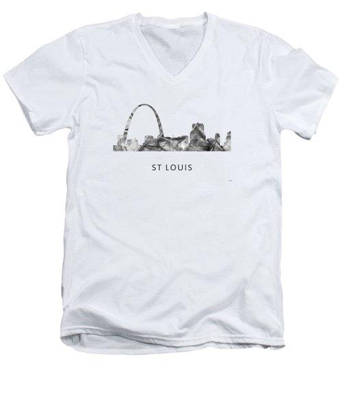 St Louis Missouri Skyline Men's V-Neck T-Shirt by Marlene Watson