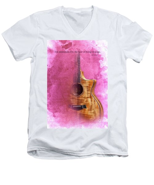 Taylor Inspirational Quote, Acoustic Guitar Original Abstract Art Men's V-Neck T-Shirt by Pablo Franchi