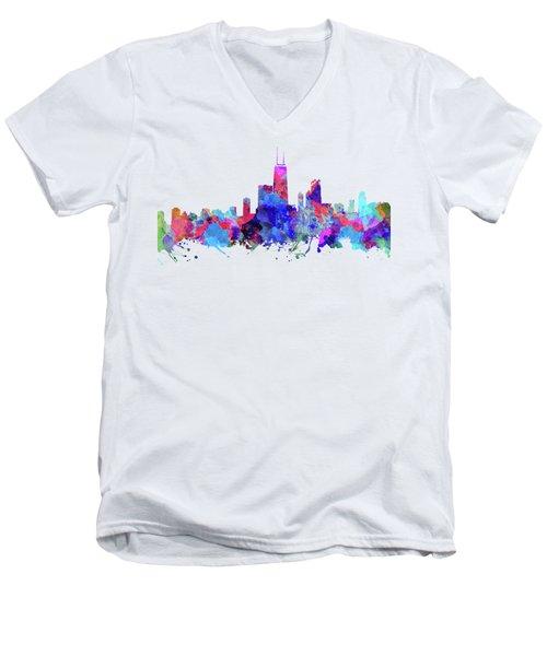 Chicago  Men's V-Neck T-Shirt by JW Digital Art