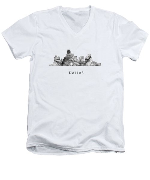 Dallas Texas Skyline Men's V-Neck T-Shirt by Marlene Watson
