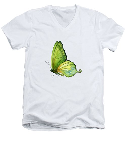 5 Sap Green Butterfly Men's V-Neck T-Shirt by Amy Kirkpatrick