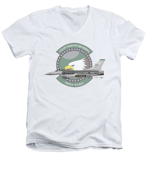 Lockheed Martin F-16c Viper Men's V-Neck T-Shirt by Arthur Eggers