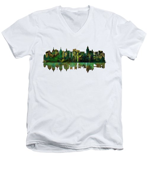 London England Skyline Men's V-Neck T-Shirt by John Groves