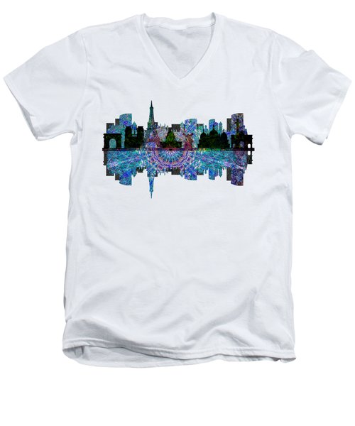 Paris France Fantasy Skyline Men's V-Neck T-Shirt by John Groves