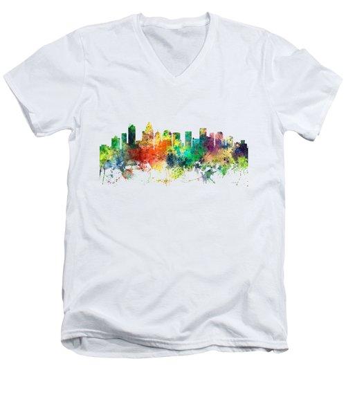Charlotte Nc Skyline Men's V-Neck T-Shirt by Marlene Watson