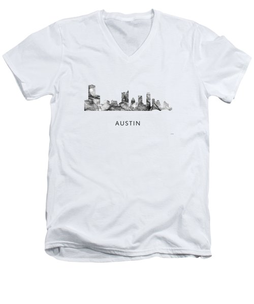 Austin Texas Skyline Men's V-Neck T-Shirt by Marlene Watson