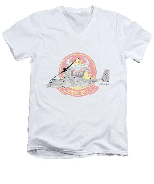 Bell Boeing Mv-22b Osprey Men's V-Neck T-Shirt by Arthur Eggers