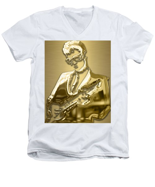 Buddy Holly Collection Men's V-Neck T-Shirt by Marvin Blaine