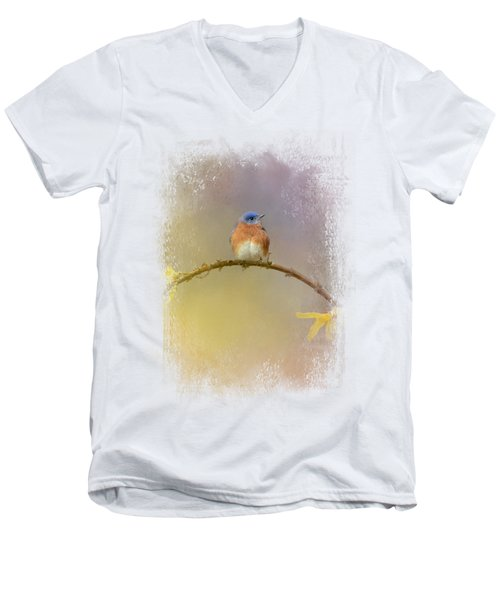 A Little Blue In The Garden Men's V-Neck T-Shirt by Jai Johnson