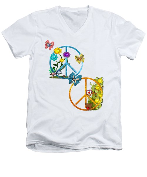 A Very Hippy Day Whimsical Fantasy Men's V-Neck T-Shirt by Sharon and Renee Lozen