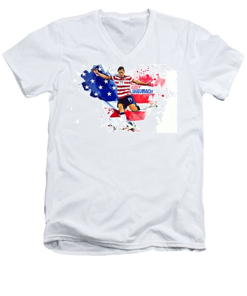Abby Wambach Men's V-Neck T-Shirt by Semih Yurdabak