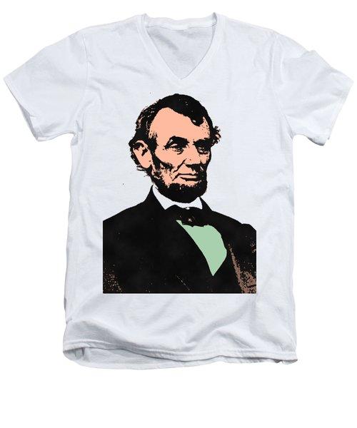 Abe Lincoln 2 Men's V-Neck T-Shirt by Otis Porritt