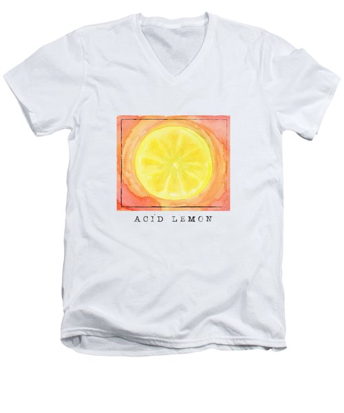 Acid Lemon Men's V-Neck T-Shirt by Kathleen Wong