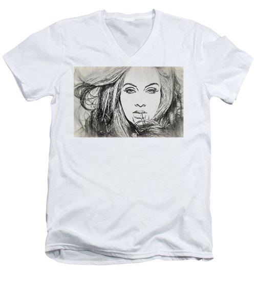 Adele Charcoal Sketch Men's V-Neck T-Shirt by Dan Sproul