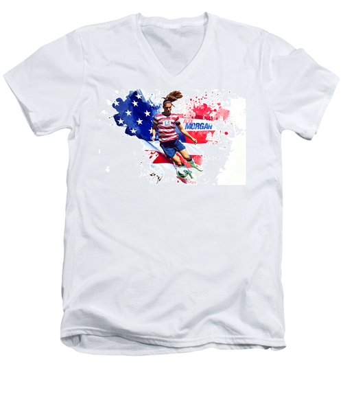 Alex Morgan Men's V-Neck T-Shirt by Semih Yurdabak