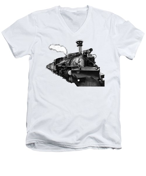 All Aboard Men's V-Neck T-Shirt by Paul Lamonica