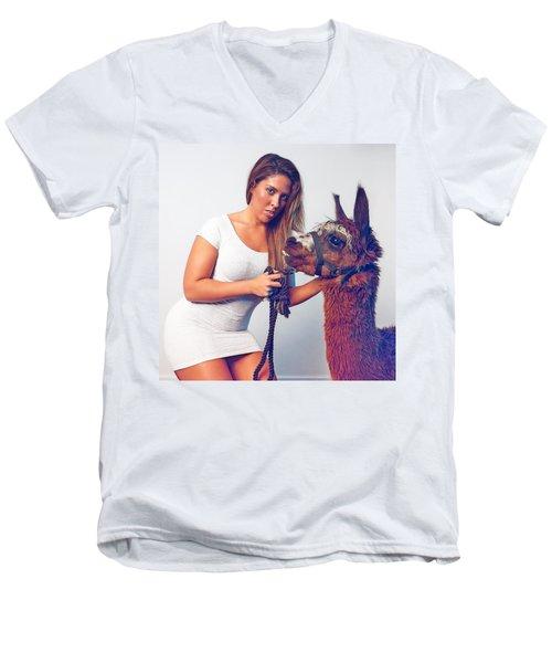 Alpaca Mr. Tex And Breanna Men's V-Neck T-Shirt by TC Morgan