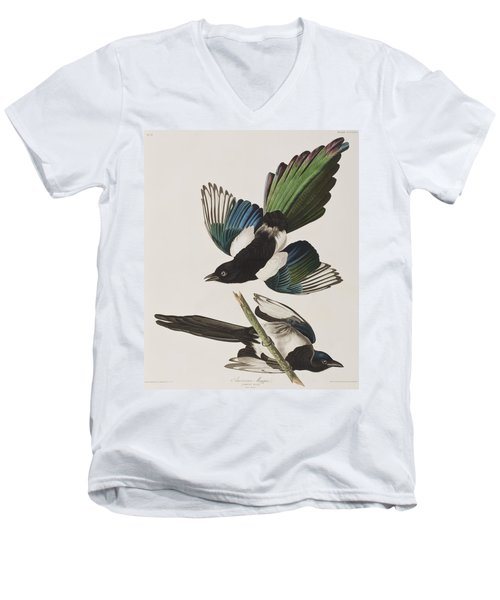 American Magpie Men's V-Neck T-Shirt by John James Audubon