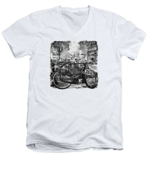 Amsterdam Bicycle Black And White Men's V-Neck T-Shirt by Marian Voicu