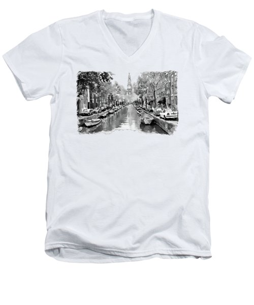 Amsterdam Canal 2 Black And White Men's V-Neck T-Shirt by Marian Voicu