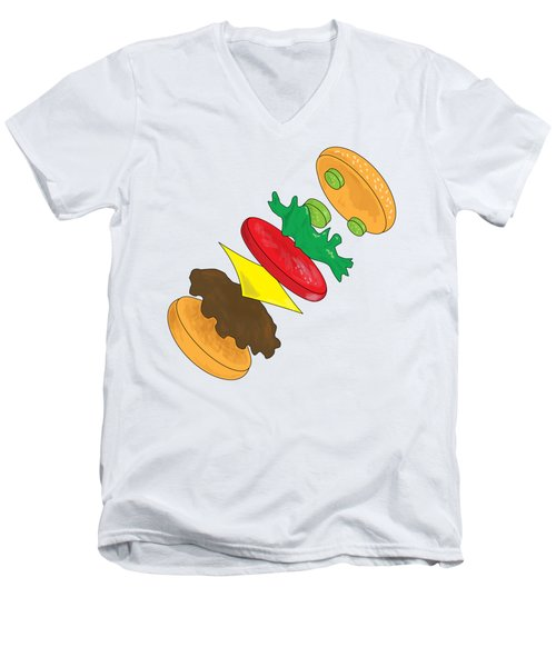 Anatomy Of Cheeseburger Men's V-Neck T-Shirt by Ben Shurts
