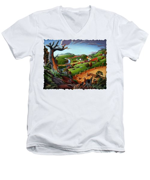 Appalachian Fall Thanksgiving Wheat Field Harvest Farm Landscape Painting - Rural Americana - Autumn Men's V-Neck T-Shirt by Walt Curlee