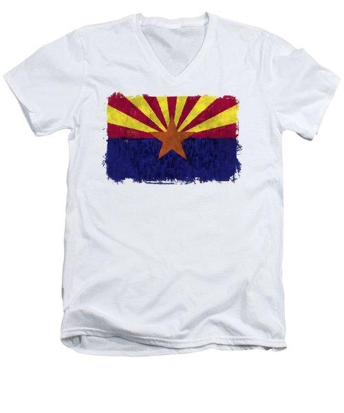 Arizona Flag Men's V-Neck T-Shirt by World Art Prints And Designs