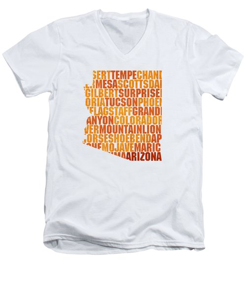 Arizona State Outline Word Map Men's V-Neck T-Shirt by Design Turnpike
