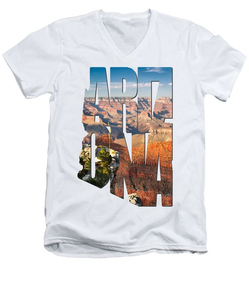 Arizona Typography - Grand Canyon At Sunset Men's V-Neck T-Shirt by Gregory Ballos