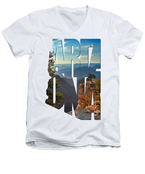 Arizona Typography - Sun Setting On Grand Canyon Men's V-Neck T-Shirt by Gregory Ballos