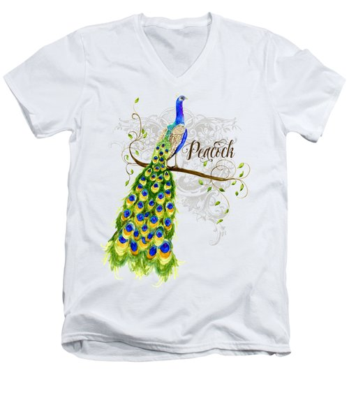 Art Nouveau Peacock W Swirl Tree Branch And Scrolls Men's V-Neck T-Shirt by Audrey Jeanne Roberts