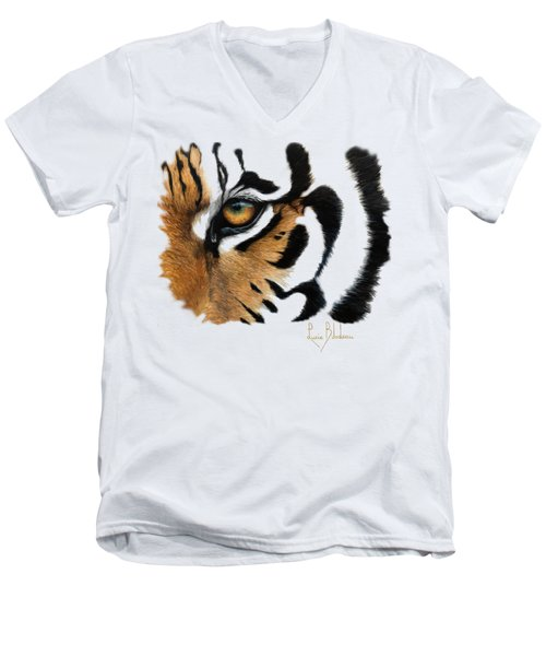 Tiger Eye Men's V-Neck T-Shirt by Lucie Bilodeau