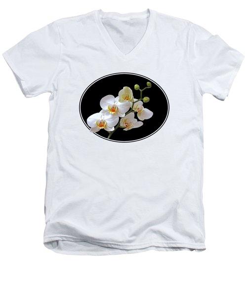 White Orchids On Ocean Blue Men's V-Neck T-Shirt by Gill Billington