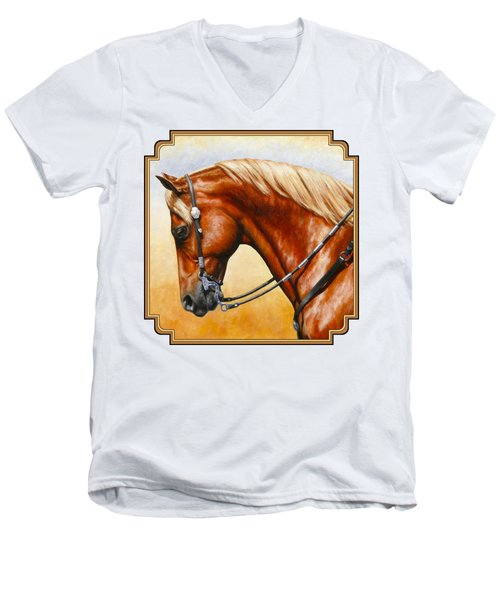 Precision - Horse Painting Men's V-Neck T-Shirt by Crista Forest