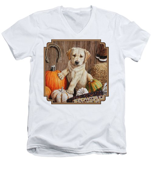 Pumpkin Puppy Men's V-Neck T-Shirt by Crista Forest