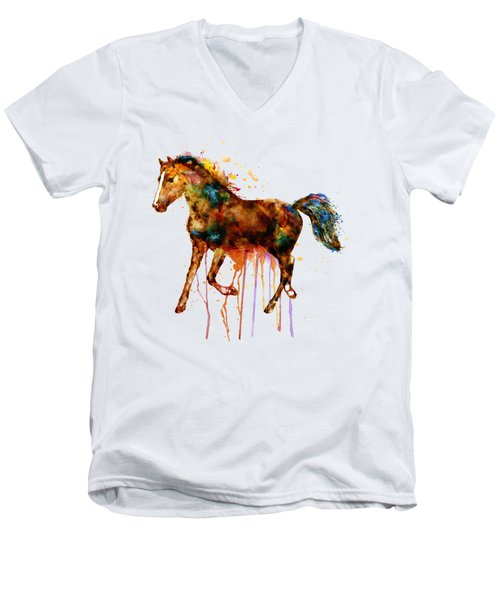 Watercolor Horse Men's V-Neck T-Shirt by Marian Voicu