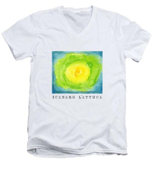 Abstract Iceberg Lettuce Men's V-Neck T-Shirt by Kathleen Wong