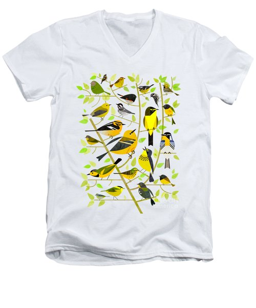 Warblers 1 Men's V-Neck T-Shirt by Scott Partridge