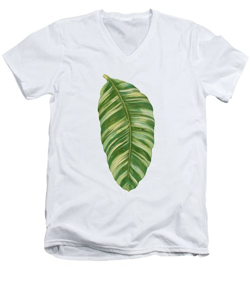Rainforest Resort - Tropical Leaves Elephant's Ear Philodendron Banana Leaf Men's V-Neck T-Shirt by Audrey Jeanne Roberts