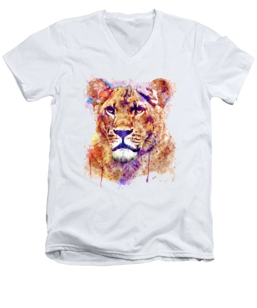 Lioness Head Men's V-Neck T-Shirt by Marian Voicu